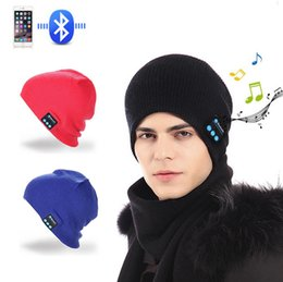 Wholesale Chinese Hat Australia - Wireless Bluetooth knitting Hat Stereo Outdoor Thermal Insulation Handsfree Earphone Speaker For IPhone Samsung Bluetooth V4.2