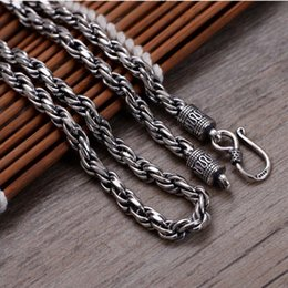 925 silver chains Australia - Hot Sale Thai Vintage Jewelry 925 Sterling Silver Chunky 5mm Woven Rope Chain Men Necklace 55cm