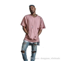 23194fa0e921 Kanye West Fashion Summer Hip Hop T Shirt Extended Hole Clothes Swag Tshirt  Homme Shirts Tyga Terry T Shirts Men€s Short Sleeve