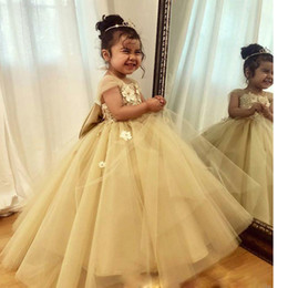 Ball Tie Australia - Hot Sale Champagne Ball Gown Toddler Pageant Dresses Beading Layer Skirt Little Girls Prom Dress for Wedding Bow Tie Puffy Kids Party Gowns