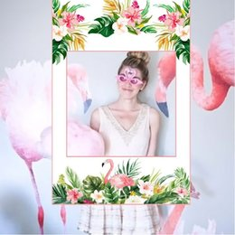 wholesale paper frames UK - 1pc Summer Flamingo Photo Frame Paper Photo Booth Props Bachelorette Party Decor Tropical Hawaii Party Decor Wedding Hens