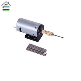 Wholesale motor track Mini Micro DC V Electric Motor PCB Hand Drill Press Drilling w pc mm Twisit Bits and Stand Bracket mm Collet