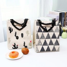 Wholesale cute thermal lunch bags printed cactus pattern cotton linen insulated kids school food drink storage bag portable tote lunch box bags