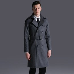 6xl trench coat men Australia - OLN Mens Coats Luxury Double Breasted Solid Thick Mens Jackets And Coats Plus Size 6xl Adjustable Waist Man Trench With Belt