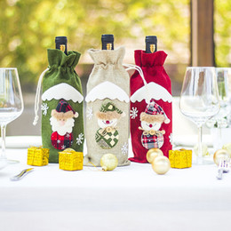 table bags NZ - Cute Santa Claus Snowman Wine Bottle Cover Champagne Decor Xmas Gift Bag Holder Christmas Decoration for Home Party Dinner Table
