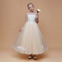 819698a434fc 2019 New Arrival Pretty Girl A-line Style Tulle Dress Flower Girl Ankle Length  Children's Party Dress Corset Back
