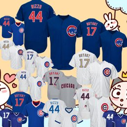 0276bbff8 44 Anthony Rizzo Chicago Cubs Jersey Embroidery 17 Kris Bryant Baseball  Jerseys Retro FlexBase Stars and Stripes Gold Program