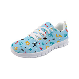 hospital cartoons NZ - Womens Shoes Flats Hospital Dentist Nurse Doctor Cartoon Woman Autumn Shoes Lace up Nurse Sneakers Sapato Feminino