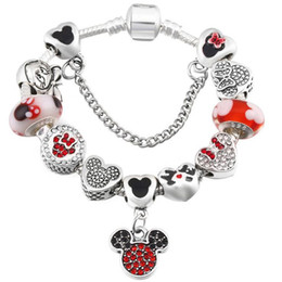 Pandora rhinestone silver charms online shopping - Fashion Charm Bracelet Women Exquisite Enamel Colorful Beads Beaded Bangle for Pandora Jewelry Girls Children Gift