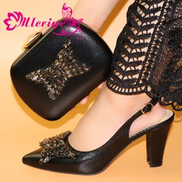 $enCountryForm.capitalKeyWord Australia - Black Latest Fashion Italian Women Matching Italian Sandals and Bag Set Decorated with Rhinestone Italian Ladies Party Shoes