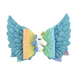 $enCountryForm.capitalKeyWord UK - Ins Unicorn hair bows girls hair clips angel's wings kids barrettes glisten princess baby BB clips designer hair accessories for girls A5911