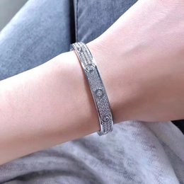 $enCountryForm.capitalKeyWord Australia - Titanium Steel Cubic Zirconia Micro Paved Full Stone Screw Bracelets Love Bangles Men Women Bracelet Femme Free Shipping