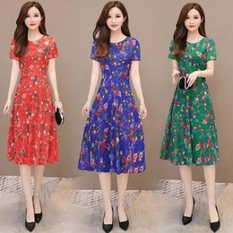 $enCountryForm.capitalKeyWord Australia - Middle-aged and old women's summer dress with short sleeves accept waist big yards of cultivate one's morality show thin broken flower skirt