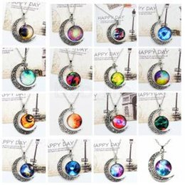 $enCountryForm.capitalKeyWord Canada - vintage Starry moon Neckchain outer space Universal Gemstone Sky Pendant Necklace valentine's day favor gift neck ring AAA1643