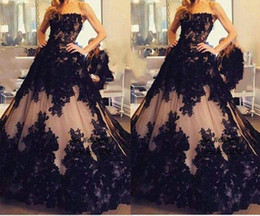 $enCountryForm.capitalKeyWord Australia - Gothic Black and Champagne Lace Applique Wedding Quinceanera Dresses Formal Ball Gowns Custom Plus Size