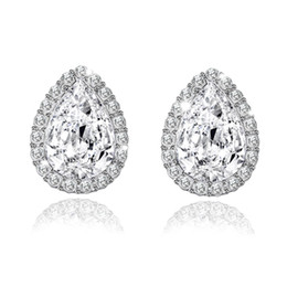 pear studs NZ - 2017 Fashion Exquisite Color Splinter Round Earrings Stone Pear Shape Cubic Zircon Crystal Stud Earrings for Women E0251