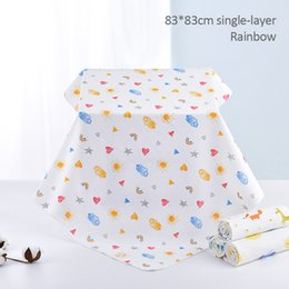 muslin baby swaddle blankets wholesale NZ - Towel Bear Muslin Blanket Baby Infant Square Animals Printed Mouse Play Mat Moon Newborn Diaper 1Pc Swaddle 100% Cotton Blankets