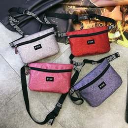 Wholesale Pillow Packs Australia - 10 Colors Pink Letter Printed Fanny Pack Beach Travel Cosmetics Shoulder Bag Pink Waist Bag PINK Chest Bags Waistpacks with dhl shipping