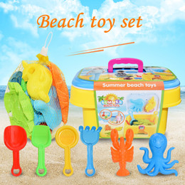 plastic sand shovels Canada - 1 Set Summer Beach Sand Play Toys Sand Water Toys Kids Seaside Bucket Shovel Rake Kit Play Toy Children Dredging Tools Hot F3