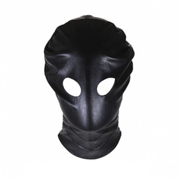 Sm gag maSk online shopping - Sexy Eyes Out PU Headgear Masks Halloween party Night Club Hood SM Bondage Stuff Adult Sex toys