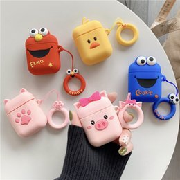 $enCountryForm.capitalKeyWord Australia - Airpods protective cover Apple Bluetooth headset receiving box cartoon powder pig silica gel ring rope anti-fall bag application