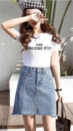 Wholesale skirt woolen high waist resale online - 2019 new women s high waist and all around A line skirt package hip skirt women s fringe denim skirt women s summer