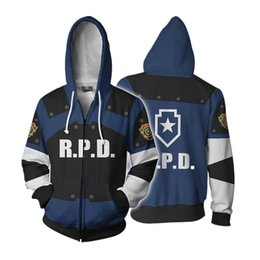 Full Zip Jacket Polyester Australia - Full Zip Thin Hoodies Resident Evil Leon S kennedy Cool Pullover Coat Jacket Unisex Jumper Sweatshirt
