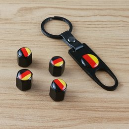 volkswagen key accessories UK - Wholesale (4pcs TIRE VALVE CAP + 1pc Key Chain) -Auto Accessories Tyre Valve Stem Air Dust Cap Cover Parts For Audi Benz Volkswagen BMW M