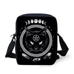 Single Phases UK - ELVISWORDS Women Messenger Bags Gothic Moon Phase Witchcraft Cat Prints Crossbody Bags For Ladies Mini Shoulder Bag Phone Clutch