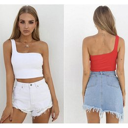 9deaeaa1a5f Solid Color Female Camisole Summer Cami Women Cropped Tops One Shoulder  Chest Wrapped Short Vest Sexy Nightclub Ladies C19040201