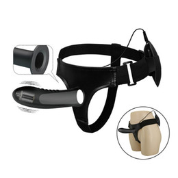 Men Sex Toy Gay NZ - 7.2 Inches Hollow Strap on Dildo Vibrator for Men Erection Aids Sex Toys for Gay Strapon Vibrating Penis Sleeve C18112201
