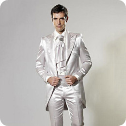 Golden tuxedo online shopping - Fashion Shinny Silver Grey Golden Tailcoat Embroidery Groom Tuxedos Men Prom Dinner Groomsmen Wedding Tuxedos Jacket Pants Tie Girdle