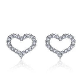 $enCountryForm.capitalKeyWord NZ - LULU-PIG 925 sterling silver earrings - Korean version of heart - shaped earrings with hollow and micro studded E0224