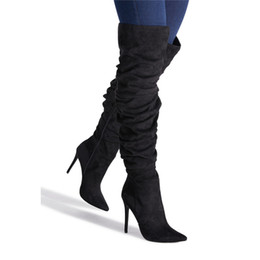 e1a18d59b559 New Women Winter Thigh High Boots Suede Leather High Heels Female Slouch  Over The Knee Boots Fashion Plus Size Shoes Women