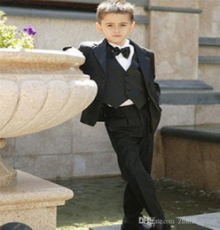 $enCountryForm.capitalKeyWord Australia - Three Piece Custom Made Black Kids Wedding Suits Notch Collar Children Boys Suits For Wedding ( Jacket+Pants+Vest+Tie)
