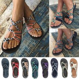 Toe ring sandals online shopping - Designer flip flops Strap Beach Rome Sandals Summer Women Hot Ring toe Cross Braid Boho Flat Shoes Flippers