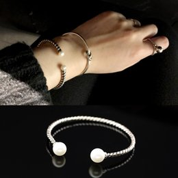 $enCountryForm.capitalKeyWord Australia - XIYANIKE Fashion Simple 925 Sterling Silver Simulated Pearl Smooth Twist Rope Thai Silver Opening Bracelets Bangles For Women