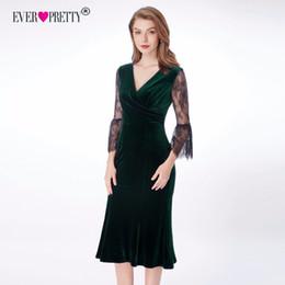 $enCountryForm.capitalKeyWord Australia - Velvet Evening Dresses Pretty Sexy Long V-neck High Stretch 3 4 Lace Sleeve Vintage Cheap Formal Dresses for Women T190606