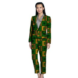 african suits UK - Formal women's pant suits for weddings business style blazers with trousers female African set print women Ankara outfits