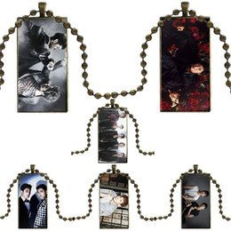 awesome necklaces Australia - Jewelry With Steel Plated Glass Cabochon Choker Long Pendant Rectangle Necklace For Women Gift Tvxq! The Awesome Korean Duo Tvxq