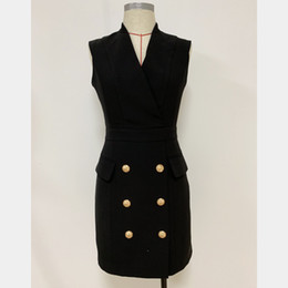 New Style Top Quality Design originale Donne da donna Signore classiche Dress da lavoro in metallo fibbie in metallo vestito da sera a doppio petto slim sealess in Offerta
