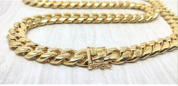 18k heavy chain Australia - Mens Miami Cuban Link Chain HEAVY 18K Gold Plated Stainless Steel