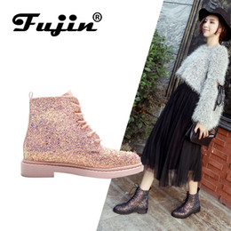Pink Shoes Punk Australia - Ankle Women Boots Shoes Woman Ankle Punk 2019 Spring Autumn Cow Leather Shoe Lace Up Pink Glitter Zapatos Mujer