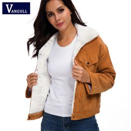 Wholesale cute bomber jackets resale online – VANGULL Women Winter Jacket Thick Fur Lined Coats Parkas Fashion Faux Fur Lining Corduroy Bomber Jackets Cute Outwear New