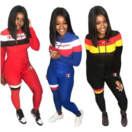 Wholesale women autumn sportwear for sale – custom Women Champion Tracksuits Embroidery Outfits Long Sleeve Hooded Sportwear Patchwork Hoodie Tights Legging Pants Autumn Two Piece Sets C92001