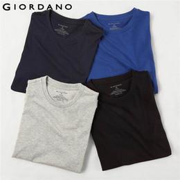 Solid Pack Australia - Giordano Men Shirts Classic Solid Undershirt Short Sleeve T-shirts (in Crewneck Tops Uomo Camisetas (4 Pack) J190614