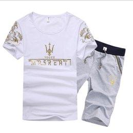 Suit T Shirt Short Australia - Summer Man O-neck T shirt Sport Suit Men Plus Size Short Sleeve Beach Short Plus size Casual Men Tracksuits Free Shipping
