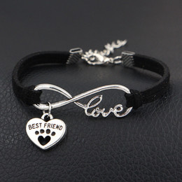 $enCountryForm.capitalKeyWord Australia - 2019 New Dog Paw Prints & Best Friends Charm Antique Silver Heart Pendants Infinity Love Black Leather Suede Bracelet Bangles Women Men Gift
