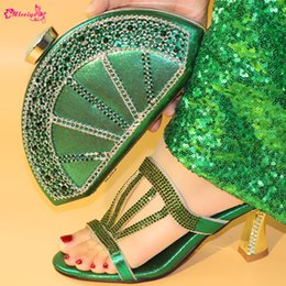 Green Italian Shoes NZ - Green Color Ladies Italian Shoes and Bag Set Decorated with Rhinestone Italian Shoes with Matching Bags Party Shoes and Bag Sets