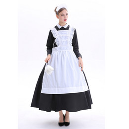 3f6d6a0700 Black Women s England Maid Long Dress Costume for Bavarian Tradition Beer  Waitress Maid Costumes Plus Size S-3XL